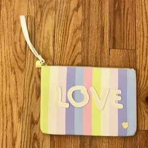 Pastel Striped Betsey Johnson LOVE Pouch